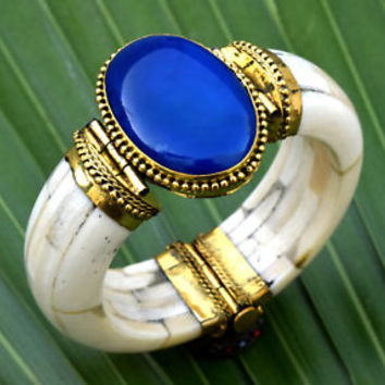 Blue Agate Stone Bone Bangle Bracelet Tribal Bohemian Ethnic African Boho Gypsy