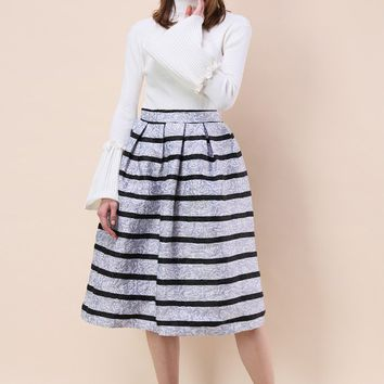 Shades of Grey Rose Embossed Midi Skirt