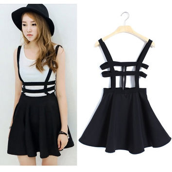 HOT  Strap dress Skater  skirt Mini Women Zip Playsuit Chic Kawaii (Size: One Size, Color: Black) (Size: One Size, Color: Black) = 1946215236