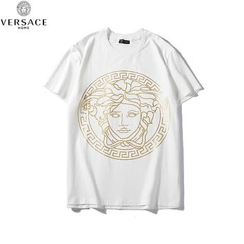VERSACE Summer Hot Saale Print Casual Short Sleeve Round Collat T-Shirt Top White