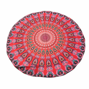 Indian Towel Scarve Mandala Beach Picnic Throw Rug Blanket Comfortable Cotton Beach Towel Yoga Mat Round Bikini Cover-Up Blanket