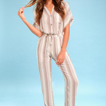 Gideon Mauve Striped Drawstring Pants