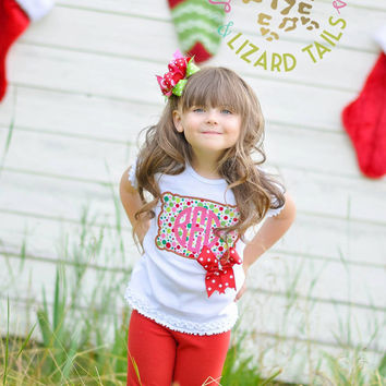 Girls Monogrammed Christmas Embroidered Shirt - Girls Christmas Shirt - Christmas - Holiday - Polkadots - Monogram - Personalized