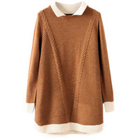 Color Block Twisted Long Sleeves Coffee Jumper