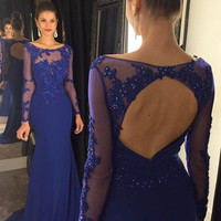 Mermaid Beading Prom Dresses, Royal Blue Evening Dress,Long Sleeve Open Back Dress