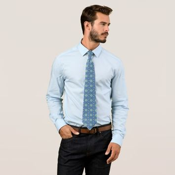 Blue geometric pattern neck tie