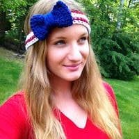 Patriotic Crochet Bow Headband, Red, White and Blue Headband, Fourth of July, Veteran's Day, Memorial Day