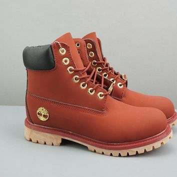 Timberland Leather Lace-Up Icon Premium Boot High Red Black