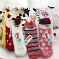 Harajuku Funny Cute Christmas Women Socks Kawaii Ladies Cat Dog Panda Chicken Bunmy Animal Printed Fuzzy Coral Xmas Ankle Sox