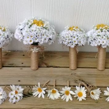 15 Piece Silk White Daisy & Billy Button Wedding Bouquet Set, Daisy bouquet, Billy Button Bouquet, White Rustic Bouquet, Rustic wedding