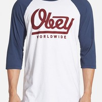 Men's Obey 'Le Worldwide' Graphic Baseball T-Shirt,