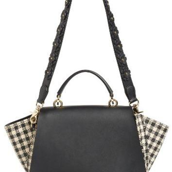 ZAC Zac Posen Eartha Gingham Straw Top Handle Satchel with Flower Guitar Strap | Nordstrom