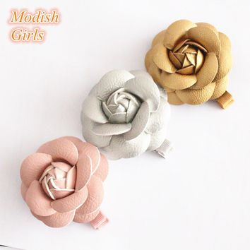 Artificial Leather Flower Design Gold Hair Accessories Kids Barrettes Famous Pink Rose Floral Hair Clips PU Hairpins 12pcs/lot