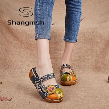 Shangmsh Flower Slippers Genuine Leather Shoes Handmade Slides Flip Flop On The Platform Clogs For Women Women Slippers