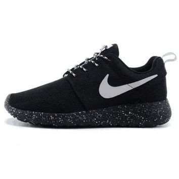 Nike Roshe Run Couple Light Sports Leisure Net Surface Breathable Olympic Running Shoes Black (black Starry Sky Soles)-1