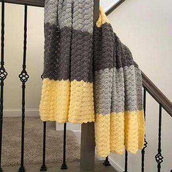 Crochet Blanket, Yellow and Gray Blanket, Medium Throw, Shell Stitched Afghan, Medium Weight Blanket, Couch Blanket, Bed Cover