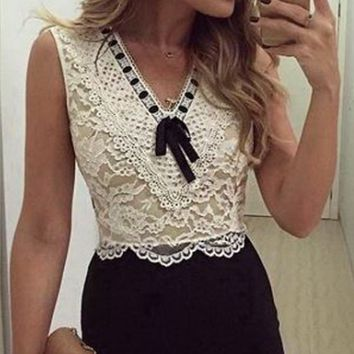 Floral Lace Embroidered Sleeveless Ruffle Mini Dress