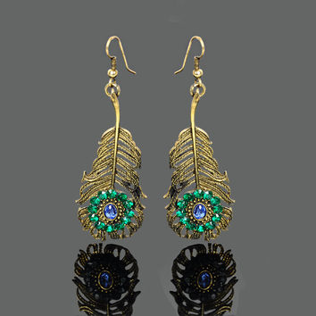 European Fashion Blue Water Drop Gem Green Crystal Gold Plated Peacock Feather Design Drop Earrings Elegant Party Dangle Earring