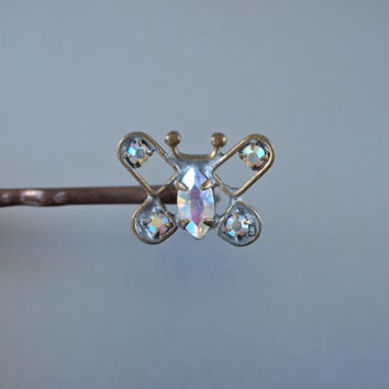 Vintage Hair Pin Czech Aurora Borealis Rhinestones Butterfly Brass Metal Hair Jewelry Art Deco