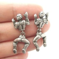 Quirky Spiderman Shaped Dangle Stud Earrings in Silver | Marvel Super Heroes | redditgifts