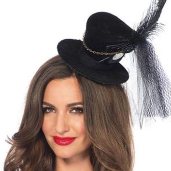 LMFI7E Steampunk velvet top hat with chain and feather accent in BLACK