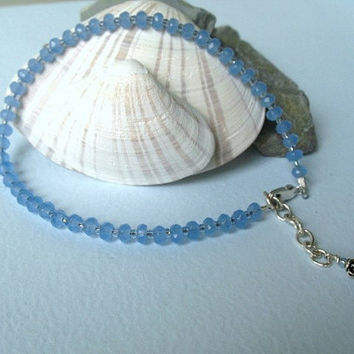 Blue Anklet Sterling Silver by ZorroPlateado on Etsy