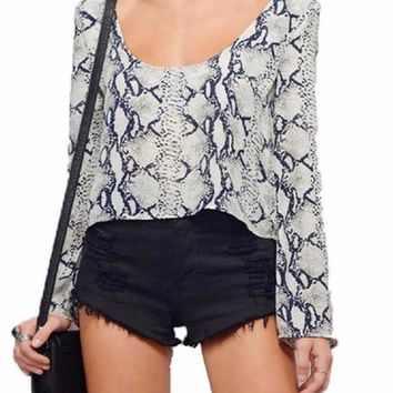 Python Snake Print Long Sleeve Scoop Crop Top