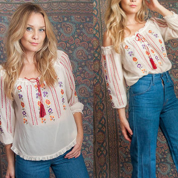 Womens Sheer White Embroidered Boho Blouse | One Size S M L Bohemian Hippie Peasant Top | 70s Ethnic Mexican Embroidery Floral Loose Blouse