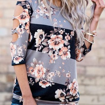 Grey Floral Hollow-out Round Neck Elbow Sleeve Loose T-Shirt