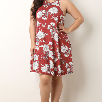 Plus Size Floral Sleeveless Trapeze Dress | UrbanOG