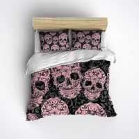 Sugar Skull Bedding - ANY COLOR Beautiful Scroll Work with Pretty Skull Print - Sugar Skull Bed Linen, Sugar Skull Bedding Set
