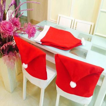 2/4/5/6Pcs/Lot Christmas Hat Chair Covers Christmas Table Decorations
