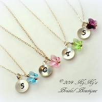 Flower Girl Personalized Butterfly Necklace, Wedding Jewelry, Little Girl Necklace