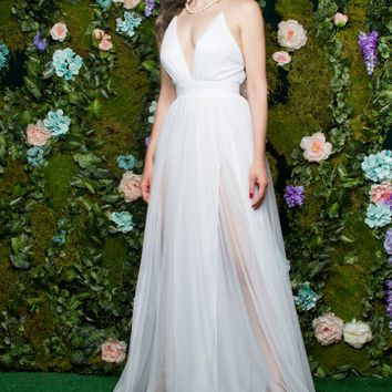 Sheerly Romantic Gown in White