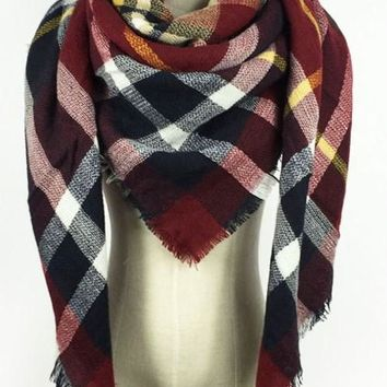Navy/Garnet Plaid Bridesmaid Blanket Scarf