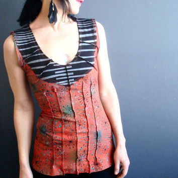 Hello Someday - iheartfink Handmade Hand Printed Womens Deep Plunge V Neck Mixed Metallic Art Print Sleeveless Jersey Top