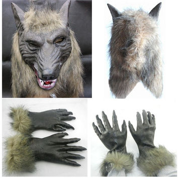 Halloween Wolf Mask and Gloves Animal ZOO Masks Party Costume Prop Cosplay Toys = 1946829700