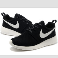 """NIKE"" roshe Trending Fashion Casual Sports A Simple yet Powerful Style Nike Shoes Black (white hook soles)"