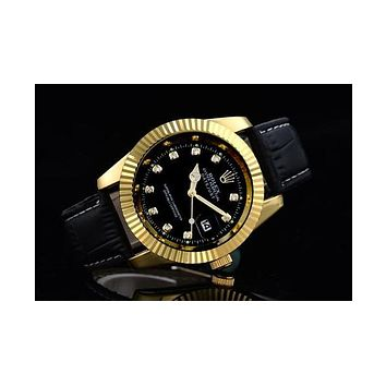 Rolex three-fold belt gear shell with a small drill F-SBHY-WSL Black wristband + gold case + black dial
