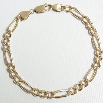 Solid 14K Yellow Gold 5mm Classic Figaro Link Bracelet - 8""