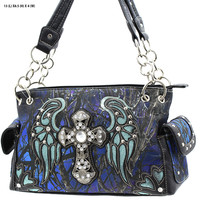 Blue Mossy Camo Wing and Cross Purse