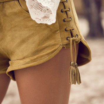 Island Muse Lace Up Shorts – Honey Suede