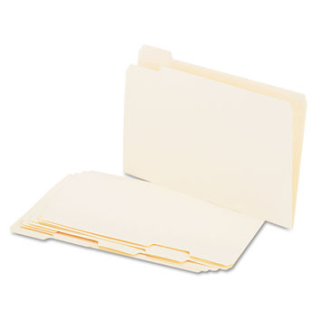Universal File Folders, 1/3 Cut Assorted, One-Ply Top Tab, Letter, Manila, 100/Box
