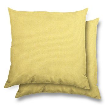 Stratford Home 17x17 Indoor/ Outdoor Toss Pillows, Sunbrella Canvas Fabric, Set of 2 (Buttercup)