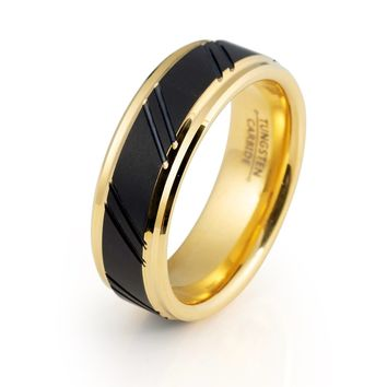 Male Black and Yellow Ring High Polished 18k Tungsten Ring 8mm Tungsten Carbide Mens Wedding Band Male Engagement Ring Man Anniversary Promise Stepped Edges