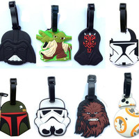 Star Wars luggage tap BB8 toys set 2016 New Force Awaken BB-8 boba fett chewbacca Darth Vador clone Trooper Yoda bag decoration