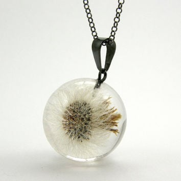 Delicate Dandelion Pendant, Magic Dandelion Resin Round with Oxidized Sterling Silver Chain, Bridesmaid Jewelry