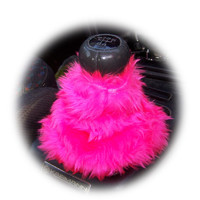 Hot barbie pink cute faux fur furry fluffy fuzzy gear stick gear shift gaiter cover car boot sleeve cover girly girl cerise bright