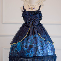 Secret Garden Lolita -A Constellation of Cats.Hecate- Lolita Jumper Dress