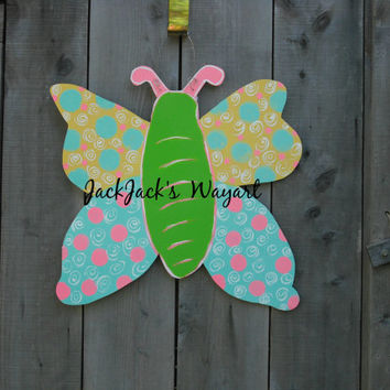 Hospital Room door hanger Wood butterfly door hanger garden stakes Spring door hanger Summer door art Newborn door hanger JackJacksWayart